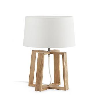 Faro Bliss - 1 lys bordlampe hvit, tre med hvit stoff skygge, E27
