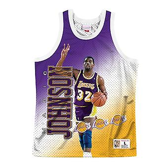 Mitchell & Ness Nba Tank Los Angeles Lakers Magic Johnson MSTKMAI19002LALWHITEJH basket-ball toute l'année hommes t-shirt