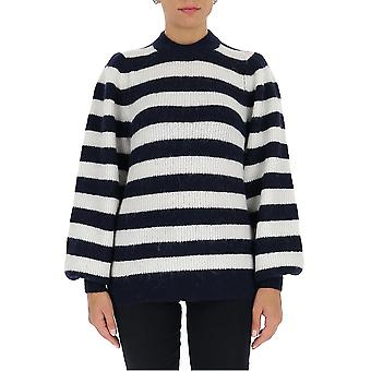 Ganni K1419683 Femmes-apos;s Pull en laine blanche/bleue
