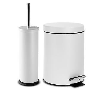 2 Stück 3 Liter Badezimmer Pedal Bin & Toilettenbürste Set - Matt weiß