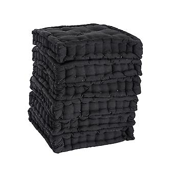 Nicola Spring Square Padded French Mattress Dining Chair Cushion Seat Pad - Black - Pack of 12