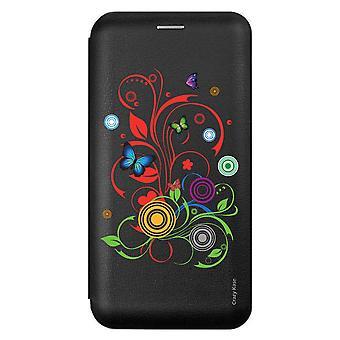 Caso para Xiaomi Redmi 9 Mariposas y Círculos Patrón Negro