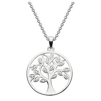 Dew plata esterlina blanco cúbico Zirconia árbol de la vida colgante 9813CZ024