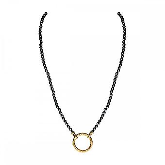 Nikki Lissoni Black Pyrite Gold Plated Beaded Necklace