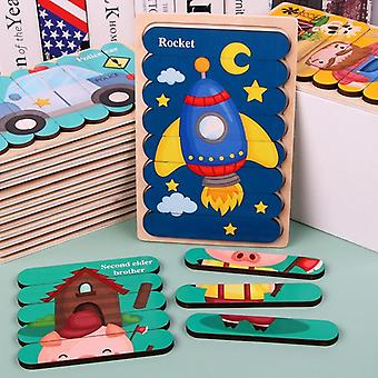 Wooden Double-sided, 3d Puzzle, Stories Telling Toy