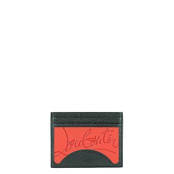 Christian Louboutin 1205015h734 Men's Black Leather Card Holder