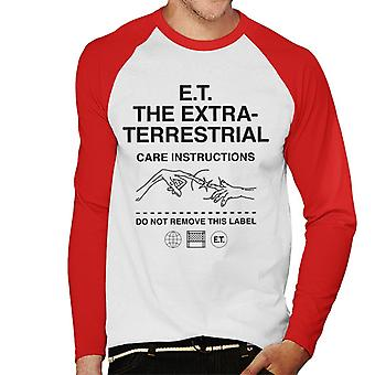 E.t. As instruções de cuidados extra terrestres men''s Baseball Long Sleeved T-Shirt