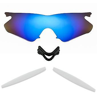 Polarized Replacement Lenses Kit for Oakley M Frame Heater Blue Mirror White Anti-Scratch Anti-Glare UV400 by SeekOptics