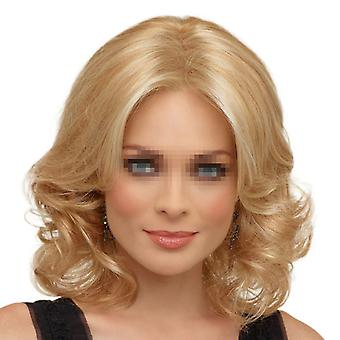 Fashionable Wig Golden Short Curled Hair Cap