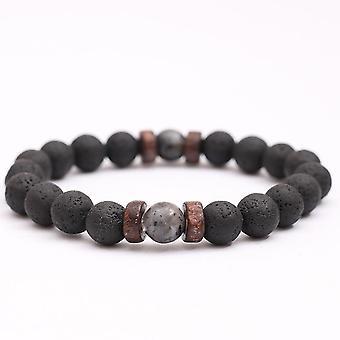Bracelet vintage en pierre volcanique perlée Mat Black Men Bracelet