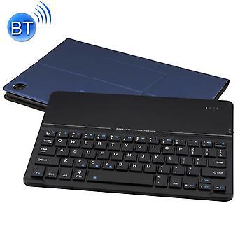 Irrotettava magneettinen Bluetooth-näppäimistö Ultrathin Karkaistu lasi peili nahkakotelo Huawei MediaPad M5 10,8 tuumaa, pidike (tummansininen)