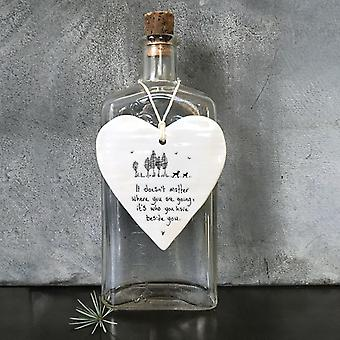 East of India Wobbly Heart 'It doesn't matter…' Porcelain Hanging Heart Gift