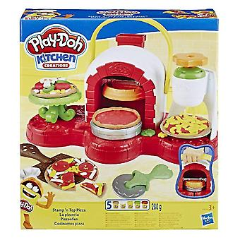 Play-doh stamp 'n top pizza oven toy with 5 non-toxic play-doh multicolours