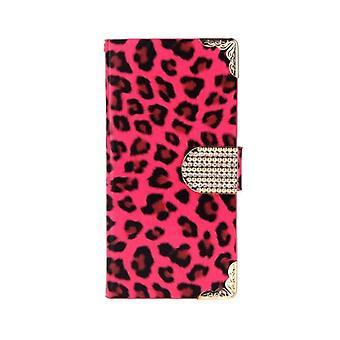 Moderigtigt Tegnebog Leopard Sag Flip Læder Cover med kortholder / rem til Apple iPhone 6 Rose
