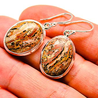 "Poppy Jasper Earrings 1 3/8"" (925 Sterling Silver)  - Handmade Boho Vintage Jewelry EARR408882"