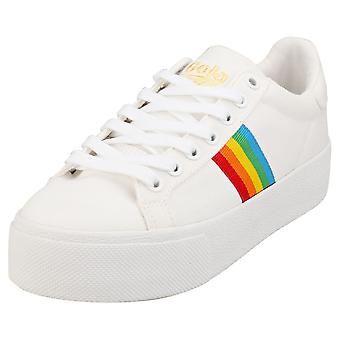 Gola Orchid Platform Rainbow Womens Fashion Trainers in White Multicolour