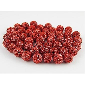10 Buc en-gros 10mm Red Shamballa Crystal Pave Clay Disco Ball / margele Cehă