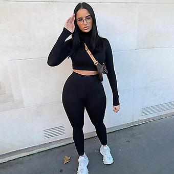 Winter Women Sport Fitness Set Outfits Long Sleeve Crop Tops Tshirt Leggings