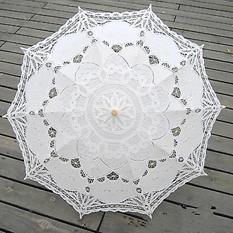 Moda Sol Paraguas Algodón Bordado Bridal Marfil Encaje Parasol Boda