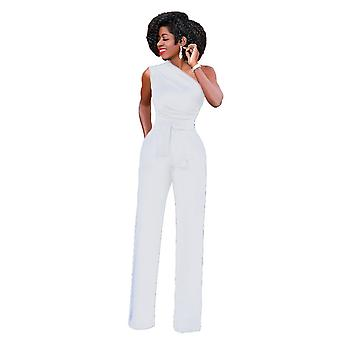 Sexy One Shoulder Rompers Women Jumpsuit Summer Sleeveless Belt Wide Leg