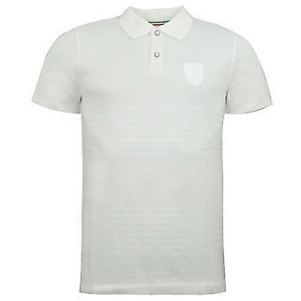 Puma SF Ferrari Polo Mens Short Sleeve Collared Shirt Top Stripe White 566271 03
