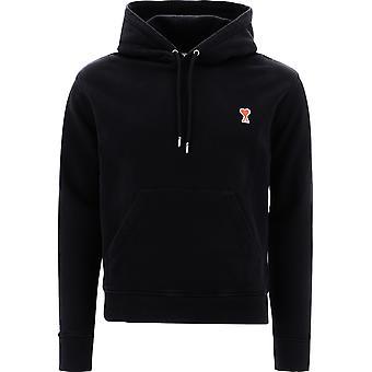Ami A20hj008730001 Men's Black Cotton Sweatshirt