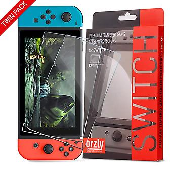 Orzly glass screen protectors compatible with nintendo switch - premium tempered glass screen protec