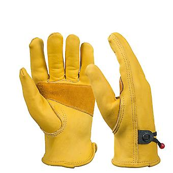 Men's Work Driver Gloves, Cowhide Leather Security Protection Wear, Safety