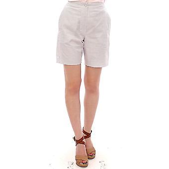 White checkered stretch cotton shorts