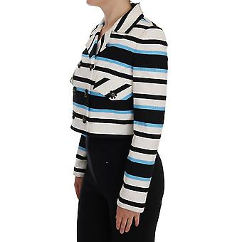 White Blue Black Striped Cotton Crystal Jacket