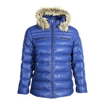 Mens jeremiah puffer leather jacket with fur hoodie (blue)