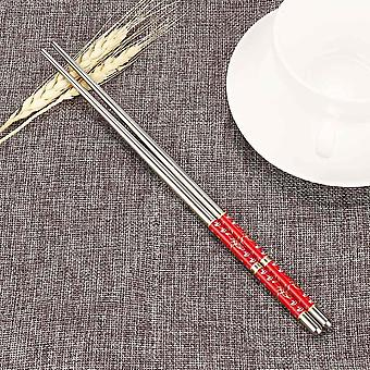 Stainless Steel Chopsticks, Flower Patters Food Sticks