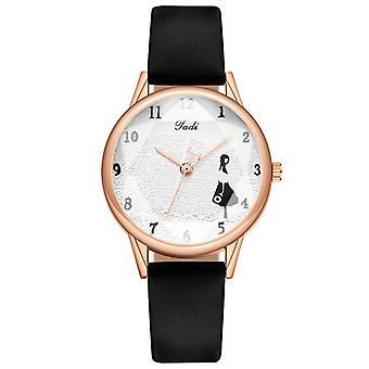 Fashion Leather Strap Little Girl Pattern Casual Style Women Watch Quartz Watch