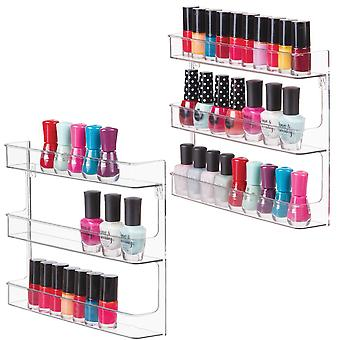 mDesign Wall Mount Nail Polish & Makeup Organizer Storage Shelf and Display - 3 Shelves - Pack of 2, Clear
