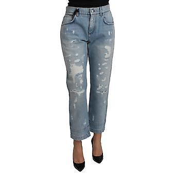 Dolce & Gabbana Blå Rippet Mid Waist Kæreste Denim Jeans-PAN71108