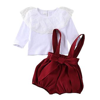 Christmas Toddler Baby Clothes. Tops T-shirt+overalls Pants