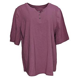 Denim & Co. Women's Top Essentials Textured Knit Henley Top Pink A303257