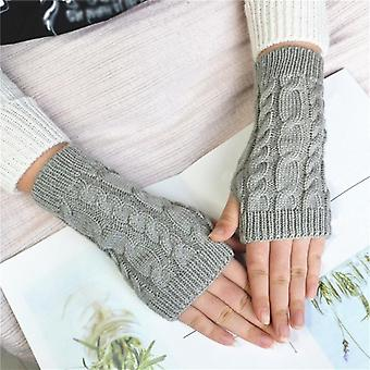 Solid Twist Crochet Knitted Fingerless Gloves New Women Short Arm Sleeve