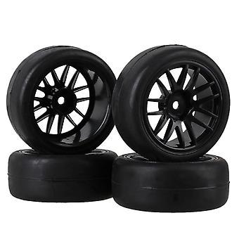 4 x svart glatt gummi dekk og plast 14-eiker hjulfelg for RC1: 10 on-road bil