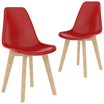 vidaXL تناول الطعام الكراسي 2 PCS. البلاستيك الأحمر