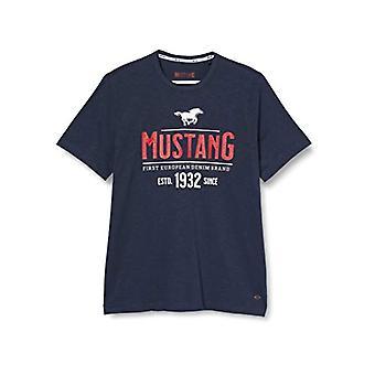 MUSTANG Alex C Print T-Shirt, Blauw (Dunkelblau 4085), Kleine Man