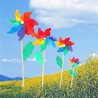 Wind Spinner ao ar livre, moinho de vento, pinwheel, decoração de jardim de polo de madeira, crianças