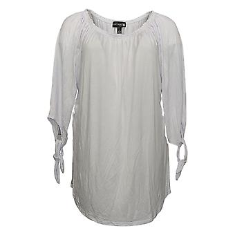 Antthony Women's Top Reg On/Off Shoulder Tie-Sleeve Tunic White 746956