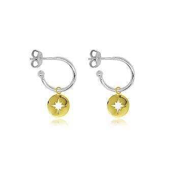 Boho betty mack silver starburst charm hoop earrings