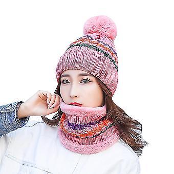 Ροζ 3-χρώμα ριγέ βελούδο ζεστό πλεκτό καπέλο κασκόλ σύνολο homi3982