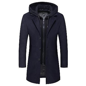Bleu foncé 2xl à capuche pure revers décontracté manteau mi-longueur homi4034