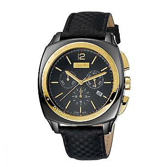 Watch Men's Smalto chronograph black and gold - leather strap - 44 mm