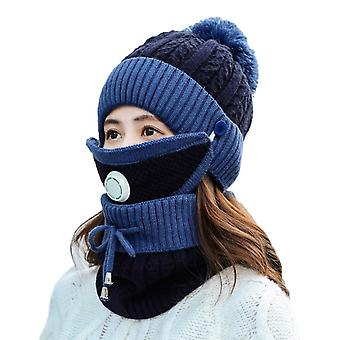 Winter Scarf Mask Set With Breathing Valve Thickened Knitted Hat(Dark Blue)