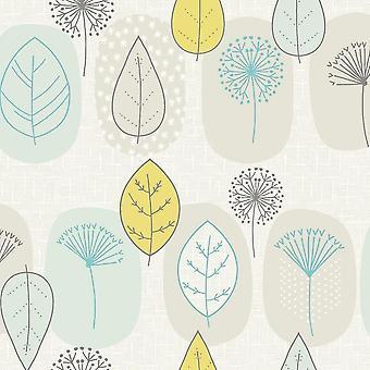 Fresco Leaf Yellow Wallpaper