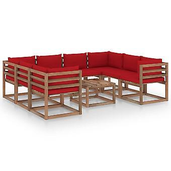 vidaXL 9 pcs. Garden Lounge Set with Red Pillows